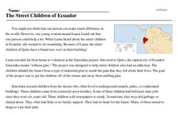Print <i>The Street Children of Ecuador</i> reading comprehension.