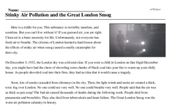 Print <i>Stinky Air Pollution and the Great London Smog</i> reading comprehension.