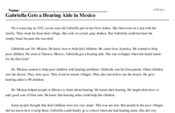 Print <i>Gabriella Gets a Hearing Aide in Mexico</i> reading comprehension.