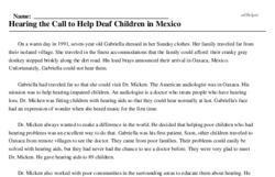 Print <i>Hearing the Call to Help Deaf Children in Mexico</i> reading comprehension.