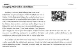 Print <i>Escaping Starvation in Holland</i> reading comprehension.