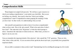 Print <i>Comprehension Skills</i> reading comprehension.