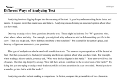 Print <i>Different Ways of Analyzing Text</i> reading comprehension.