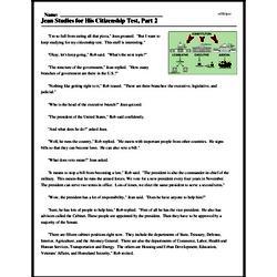 Print <i>Jean Studies for His Citizenship Test, Part 2</i> reading comprehension.