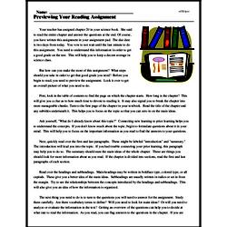 Print <i>Previewing Your Reading Assignment</i> reading comprehension.