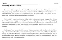 Print <i>Pump Up Your Reading</i> reading comprehension.
