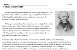 Print <i>William Wordsworth</i> reading comprehension.