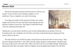 Print <i>Rococo Style</i> reading comprehension.