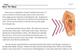 Print <i>How We Hear</i> reading comprehension.