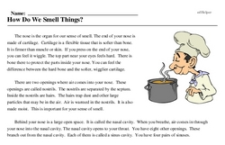 Print <i>How Do We Smell Things?</i> reading comprehension.