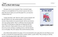 Print <i>How to Deal with Gangs</i> reading comprehension.