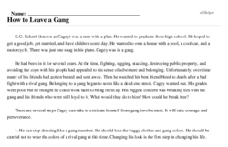 Print <i>How to Leave a Gang</i> reading comprehension.