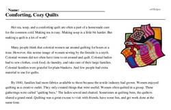 Print <i>Comforting, Cozy Quilts</i> reading comprehension.