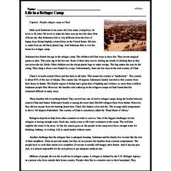 Print <i>Life in a Refugee Camp</i> reading comprehension.