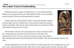 Print <i>The Golden Touch of Goldsmithing</i> reading comprehension.