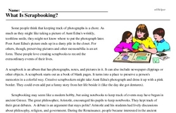 Print <i>What Is Scrapbooking?</i> reading comprehension.