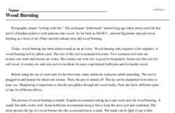 Print <i>Wood Burning</i> reading comprehension.