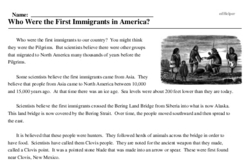 Print <i>Who Were the First Immigrants in America?</i> reading comprehension.