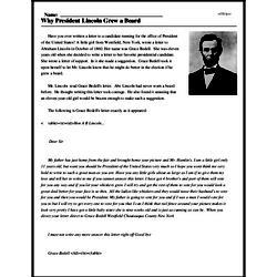 Print <i>Why President Lincoln Grew a Beard</i> reading comprehension.