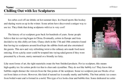 Print <i>Chilling Out with Ice Sculptures</i> reading comprehension.