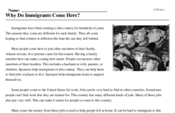Print <i>Why Do Immigrants Come Here?</i> reading comprehension.
