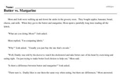 Print <i>Butter vs. Margarine</i> reading comprehension.
