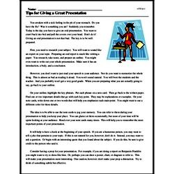 Print <i>Tips for Giving a Great Presentation</i> reading comprehension.
