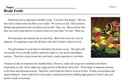 Print <i>Brain Foods</i> reading comprehension.