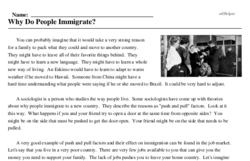 Print <i>Why Do People Immigrate?</i> reading comprehension.