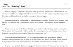 Print <i>Are You Listening? Part 2</i> reading comprehension.