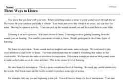 Print <i>Three Ways to Listen</i> reading comprehension.