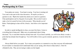 Print <i>Participating in Class</i> reading comprehension.