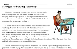 Print <i>Strategies for Studying Vocabulary</i> reading comprehension.
