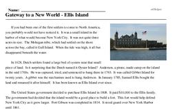 Print <i>Gateway to a New World - Ellis Island</i> reading comprehension.