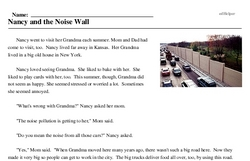 Print <i>Nancy and the Noise Wall</i> reading comprehension.
