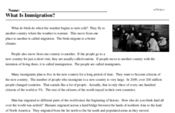 Print <i>What Is Immigration?</i> reading comprehension.