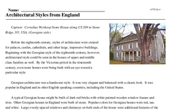 Print <i>Architectural Styles from England</i> reading comprehension.