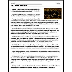 Print <i>The Chartist Movement</i> reading comprehension.