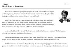 Print <i><i>Dred Scott v. Sandford</i></i> reading comprehension.
