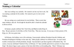 Print <i>Making a Calendar</i> reading comprehension.