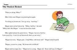 Print <i>The Mostest Bestest</i> reading comprehension.