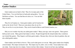 Print <i>Garter Snakes</i> reading comprehension.