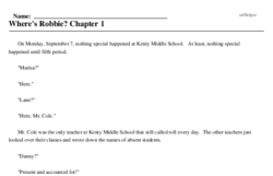 Print <i>Where's Robbie? Chapter 1</i> reading comprehension.