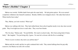 Print <i>Where's Robbie? Chapter 2</i> reading comprehension.