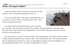 Print <i>What's Wrong in Alaska?</i> reading comprehension.