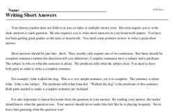 Print <i>Writing Short Answers</i> reading comprehension.