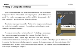 Print <i>Writing a Complete Sentence</i> reading comprehension.
