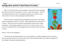Print <i>Immigration and the United States Economy</i> reading comprehension.