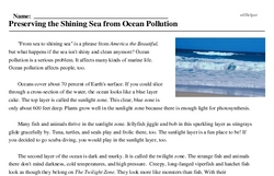 Print <i>Preserving the Shining Sea from Ocean Pollution</i> reading comprehension.