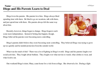 Print <i>Diego and His Parents Learn to Deal</i> reading comprehension.